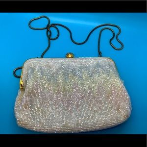 Vintage Beaded Clear Sparkling Clutch